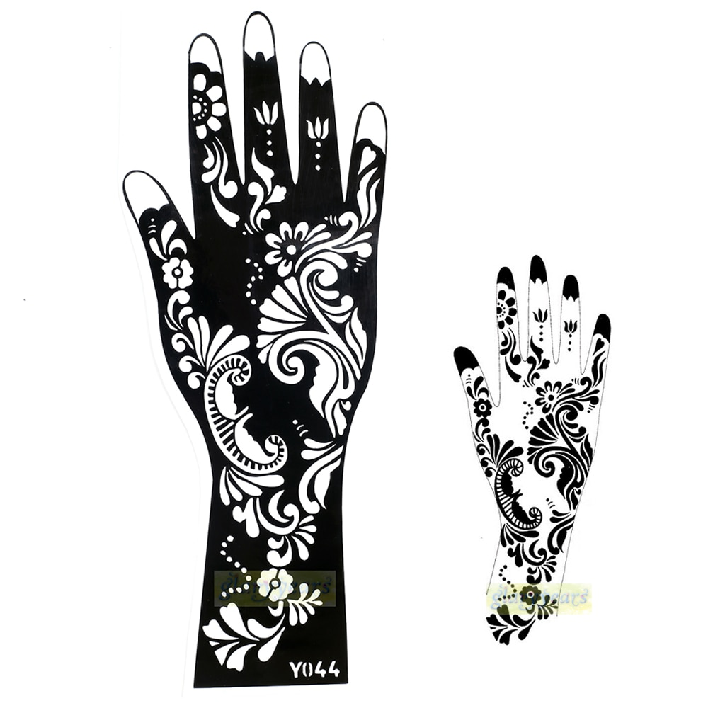 1 pc Hot Requintado Flor Do Laço Projeto Mehndi Henna Adesivos Glitter Stencils Tatuagem Temporária Mulheres Corpo Pintura À Mão Modelo Y044