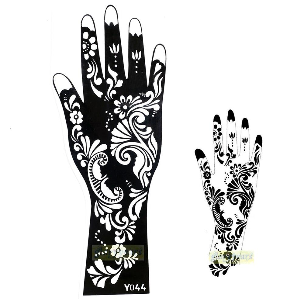Plantilla de tatuaje temporal de Henna, tatuaje temporal, plantilla de pintura de mano para mujer Y044, 1 unidad, exquisito diseño de flor Mehndi