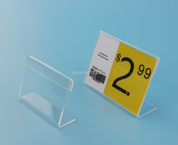 4*6CM 50 pcs L label holder acrylic label price tag card display frame stand label frame table desk sign stand label holder case