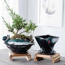 Pots à fleurs créatifs en céramique   Décorations pour la maison, bonsaï rétro multi-viande avec plateau, décoration artistique Arrangement de fleurs pour bureau