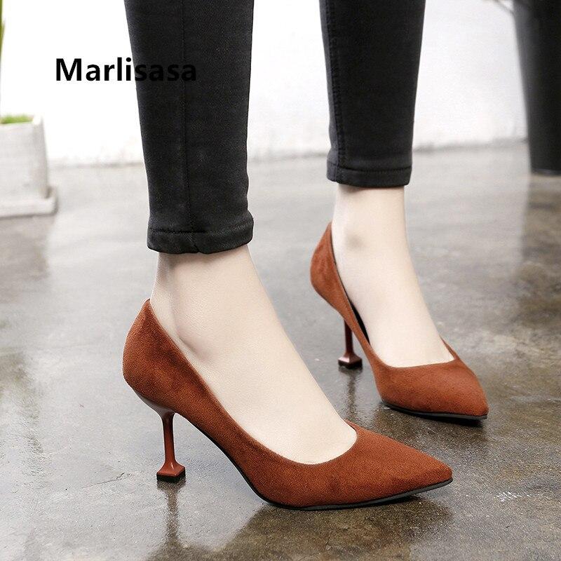 Marlisasa, tacones de oficina cómodos y dulces a la moda para mujer, zapatos de tacón negros informales para mujer, atractivos zapatos de tacón Vrouwen Hoge Hakken F5349