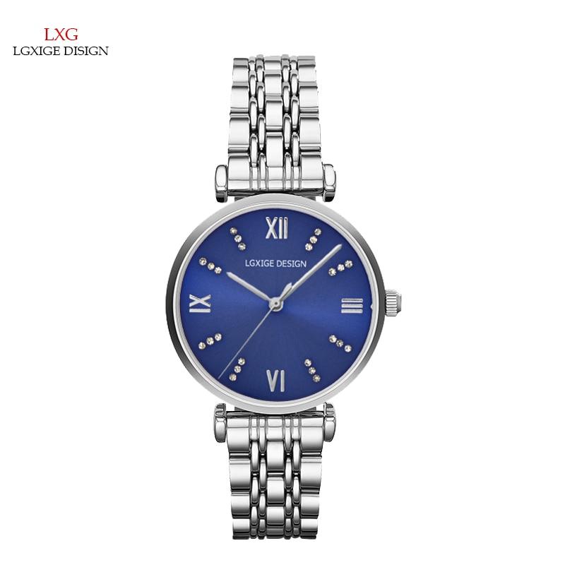 Relojes LGXIGE para mujer, relojes pequeños de moda 2017 con diamantes de imitación azules, relojes de pulsera de cuarzo resistentes al agua para mujer