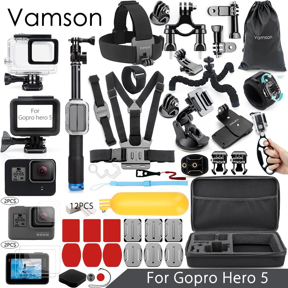 Комплект аксессуаров Vamson для Gopro Hero 7, 6, 5, супер комплект, водонепроницаемый корпус, 3-сторонний монопод для Go pro, hero 6, 5, Vamson, VS09
