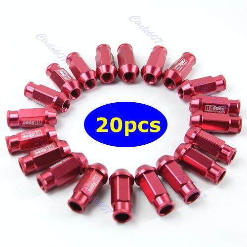 Entrega gratuita 20 peças d1 especificação m12 x 1.5 racing lug roda porcas parafuso vermelho