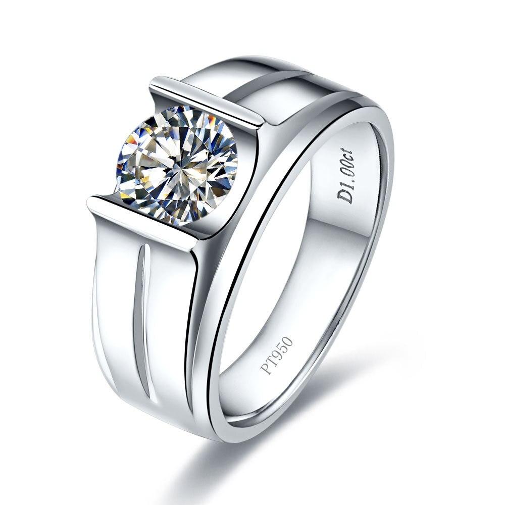 خاتم رجالي أصلي 1 قيراط مرصع بالألماس خاتم خطوبة رجالي صلب بلاتينيوم 950