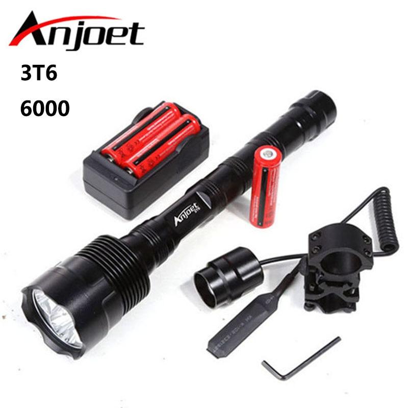 Linterna táctica LED XML 3xT6 6000Lm de gran alcance para caza linterna Llight 3X 18650 Linterna + batería + cargador + interruptor Remoto + soporte para pistola