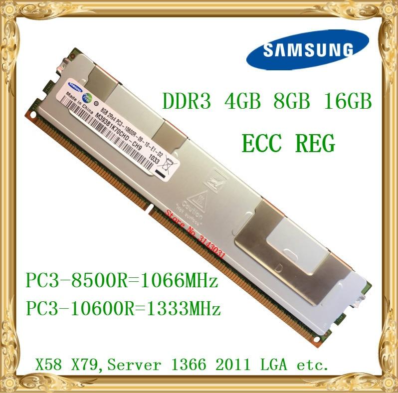 Серверная память Samsung DDR3 4 ГБ 8 ГБ 16 ГБ 1066 1333 МГц ECC REG DDR3 PC3-10600R 8500R RIMM RAM X58 X79 для материнской платы