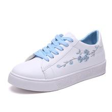 أحذية بيضاء صغيرة الإناث جولة رئيس الربيع والخريف مجلس أحذية الطلاب شقة عارضة أحذية مع التطريز الزهور
