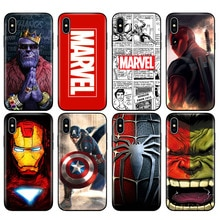 Schwarz tpu fall für iphone 5 5s se 6 6s 7 8 plus x 10 XR XS MAX fall silicon abdeckung Marvel Avengers kapitän ironman thanos
