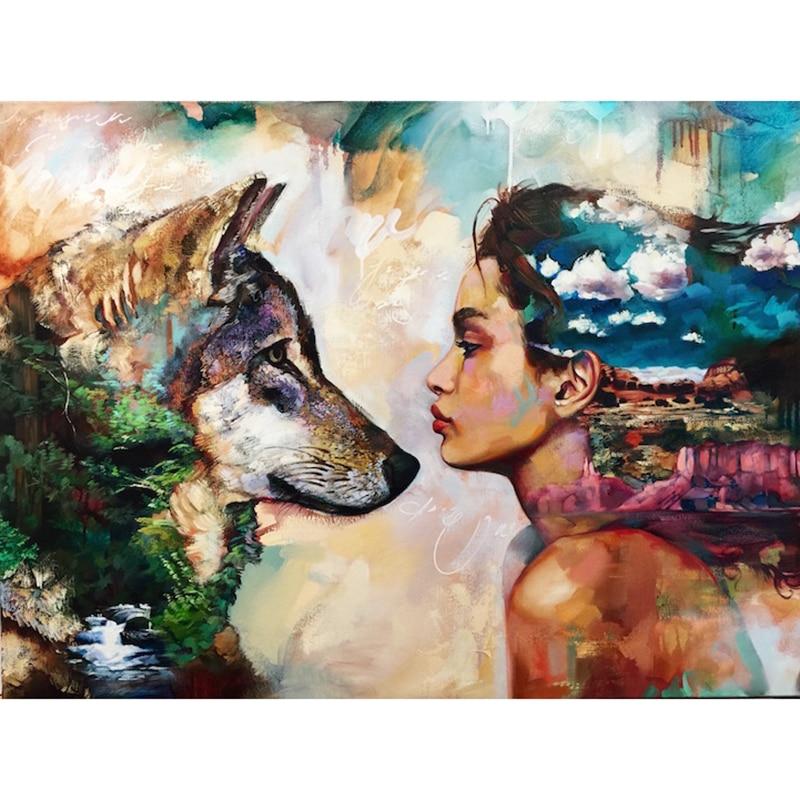 "Full Drill Square Diamond 5D DIY Diamond Painting""Wolf and girl""Diamond Embroidery Cross Stitch Rhinestone Mosaic Painting"