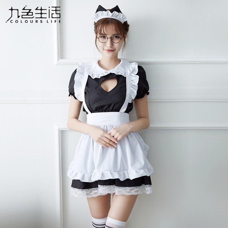 2019 chegam Novas Sexy Doce Vestido Lolita Maid Costume Anime Cosplay Maid Uniform Plus Size Trajes de Halloween Para As Mulheres NY0300