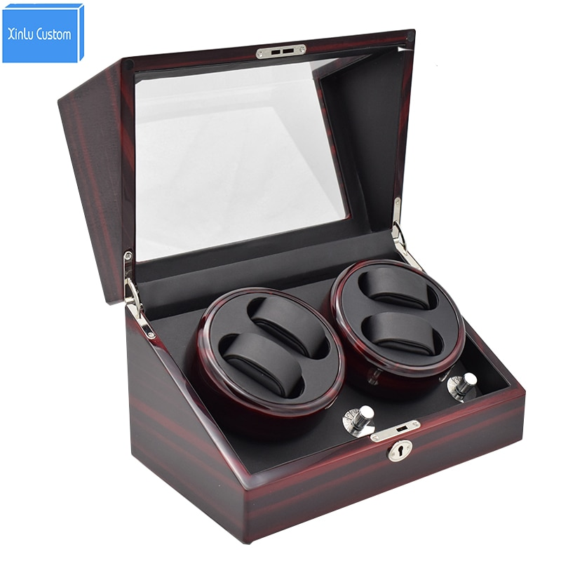 Automatic wood watch display case box watch winders glossy black leather lock rotate 4 watchwinder in battery storage boxes hold