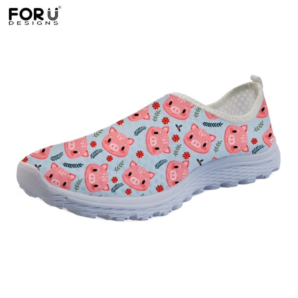 FORUDESIGNS Cute Cartoon Pink Pig Printing mujer Casual Slip On Sneakers estudiante niñas Casual caminar zapatos planos zapatos transpirables