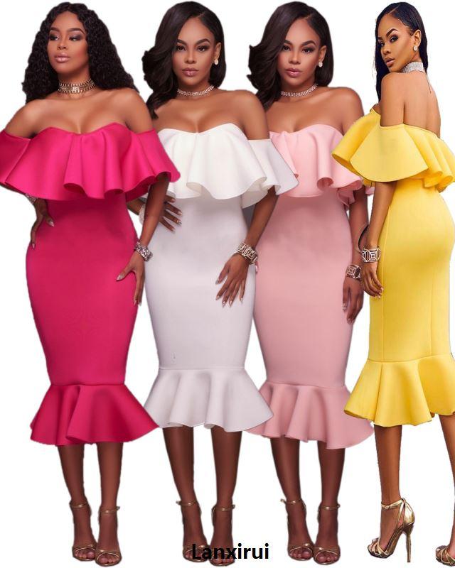 Vestido por debajo de la rodilla con volantes y hombros al descubierto, nuevo diseño rosa/verde/blanco, sexi y sexi de mujer para salir de noche, vestidos de cola de pez en línea