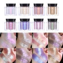 UCANBE 8 colores Duo-Chrome brillo sombra de ojos en polvo metálico brillante holográfico cristal lustre ojos Toppers sombra de ojos maquillaje