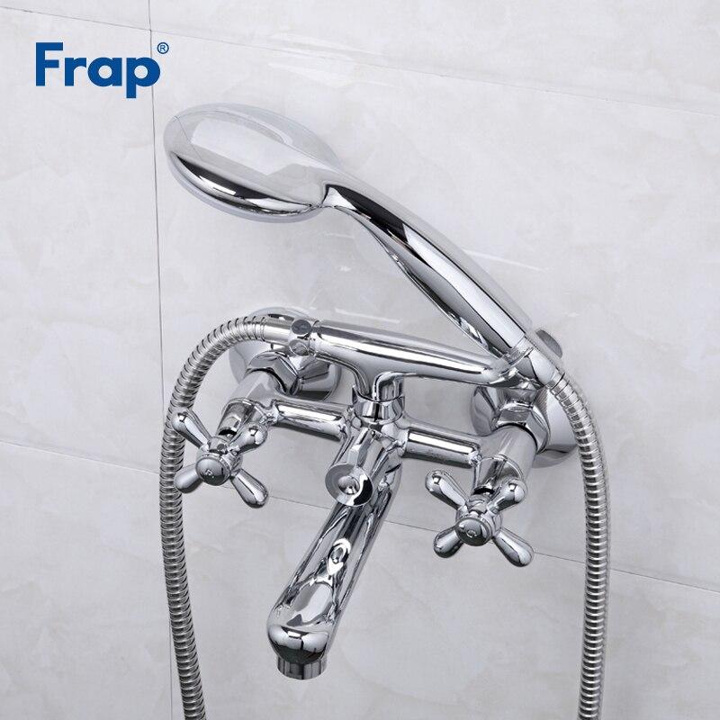 Frap, nuevos grifos de bañera, conjunto de ducha de latón, grifo mezclador, manija simple, doble manija, montado en pared de la Ducha para baño Torneira F3025
