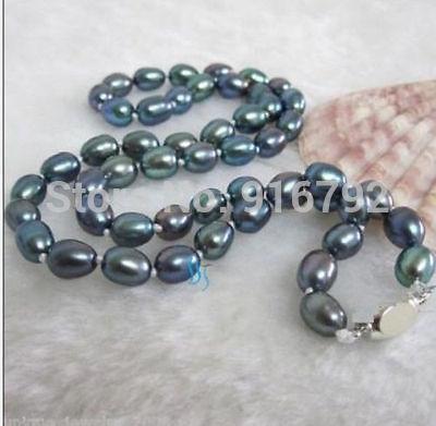 """Envío Gratis YH @ CS> 18 """"10-13 MM NATURAL tahitiano auténtico collar de perlas azul Pavo Real"""