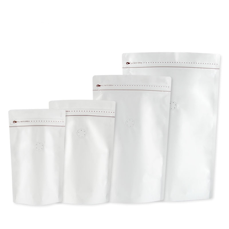 0,25lb a 2lb papel de aluminio grueso Stand Up Cofee polvo bolsas de almacenamiento de alimentos mate blanco Zip Lock bolsa de café con válvula de 25 piezas
