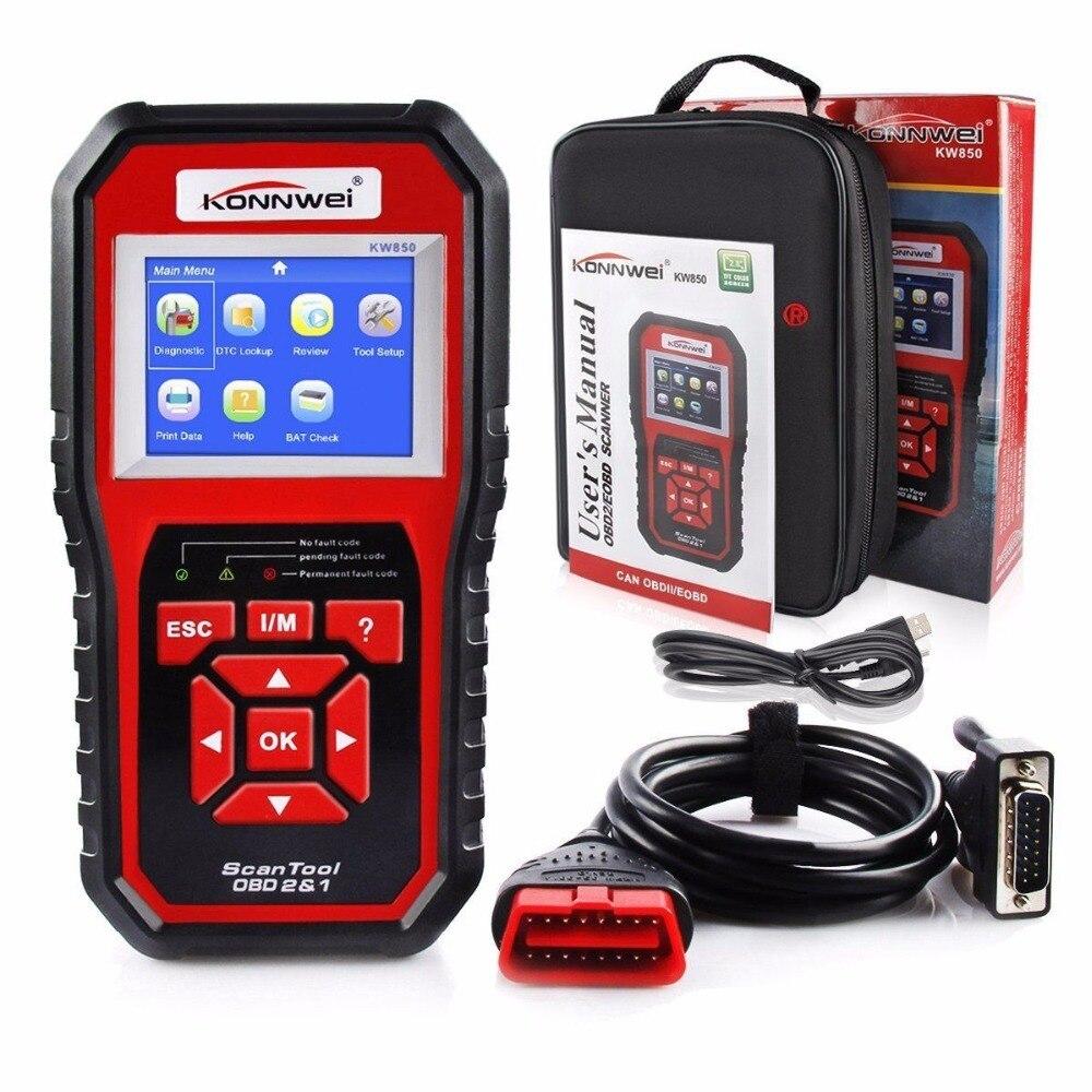 Scanner de voiture KONNWEI KW850   2018, ODB OBD2, outil de Diagnostic de voiture, scanner de Code automobile KW 850, plusieurs langues