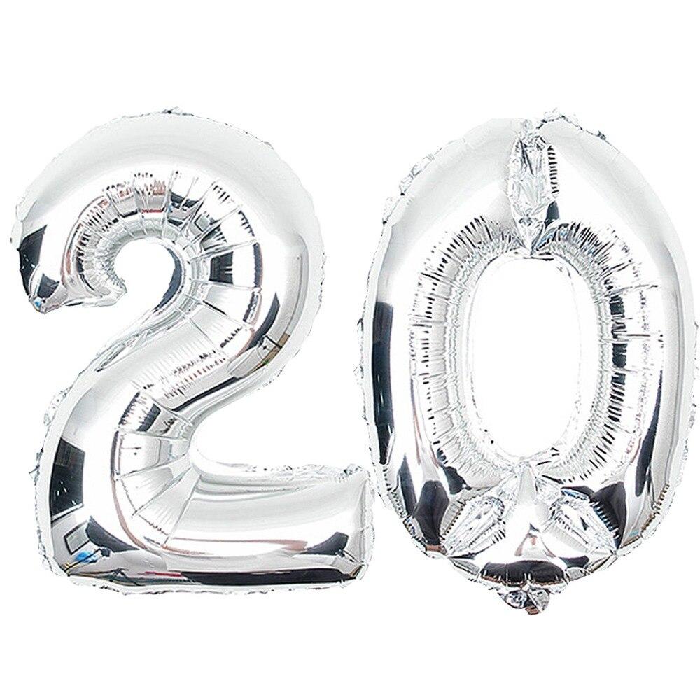 Età 20th 30th ° ° ° ° ° ° ° Birthday Celebration Party decoration numero argento mylar balloons forniture