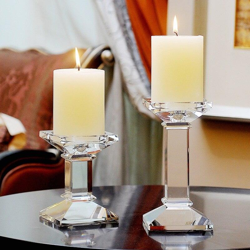 Candelabros de cristal transparente para boda, candelabros modernos de cristal, centros de...