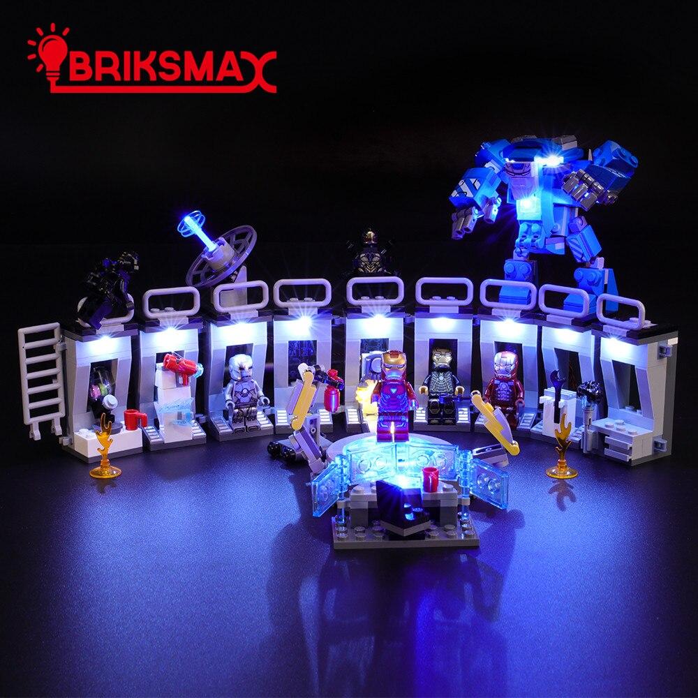 Купить с кэшбэком BriksMax Led Light Up Kit For Tony Stark Armored hall Building Blocks Compatible With 76125
