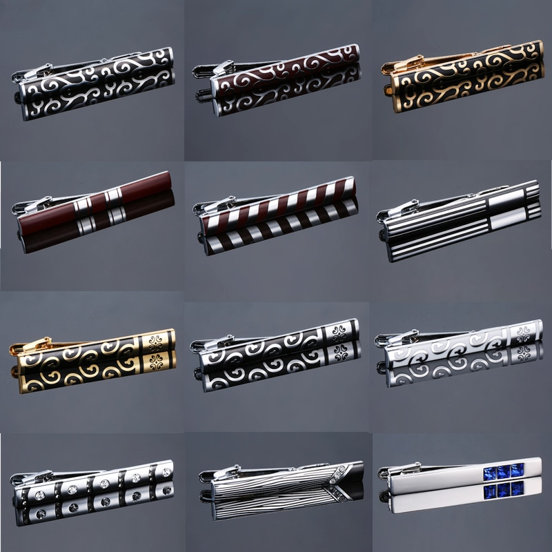 Clip de corbata clásico de varios tipos para hombre, lujoso, chapado en Metal, cristal, corbata, diseño de barra, broche, Clip de corbata, boda, oro plateado