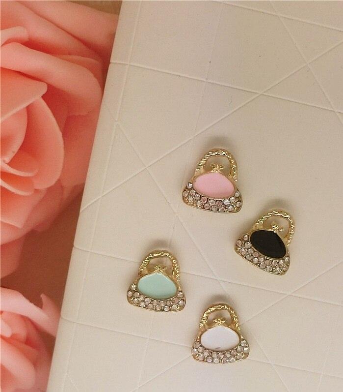 50 pzas/unids/lote bolso con Colgante de Piedra artificial tamaño 13*14mm aleación esmaltada accesorios DIY de collar pulsera tocado