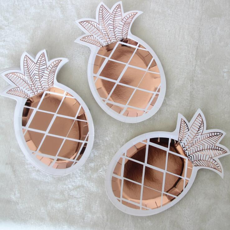8 Pcs Rose Gold Disposable Tableware Pineapple Paper Plates wedding baby shower Birthday Summer Party Decoration Supplies 72pcs mint green with gold confetti cake plates 7 premium quality paper plates wedding bridal shower engagement party supplies