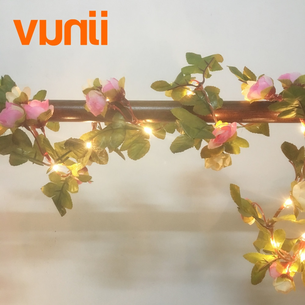 2,2 м 25 светодиодная гирлянда с розовым цветком розы, работающая от аккумулятора, медная светодиодная гирлянда для рождества, свадьбы, украше...