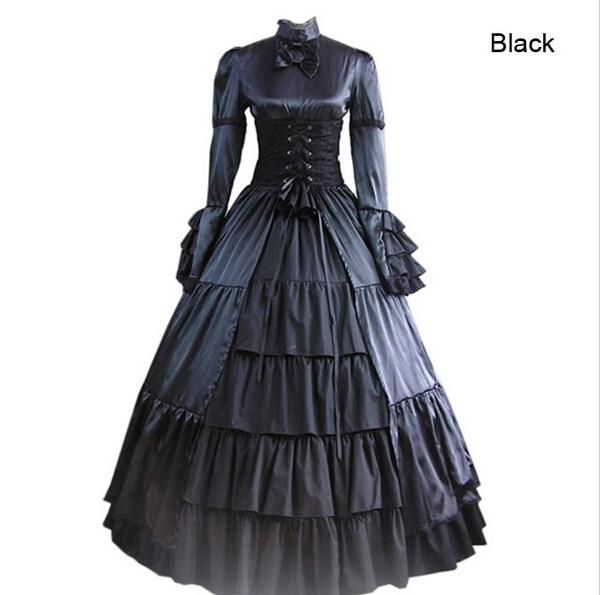 Lolita gótica civil warmedieval dress gótico vitoriano vestido de baile vestido fancy dress prom partido do traje do dia das bruxas