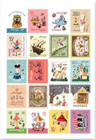 4sheets/lot  Vintage pattern cartoon style stamp shape decorative Sticker / Index Label / Fashion gift