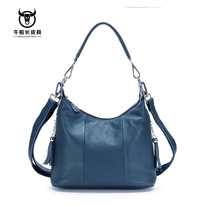 BULLCAPTAIN 2020 NUEVO Bolso mujer bolsos de cuero genuino, bolso de las mujeres, 8 pulgadas bolsas de mensajero para mujeres casual borla
