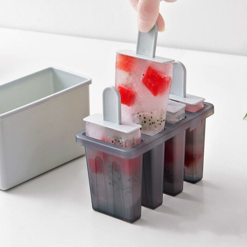 Molde de 4 rejillas DIY para Polos, molde clásico para helados, bandeja para cubitos de hielo congelados, molde para polos, utensilios de cocina para helados, moldes para polos
