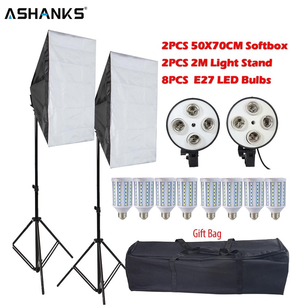 Kit de Softbox para estudio fotográfico 8 LED 60w Kit de iluminación fotográfica accesorios para cámara y Foto 2 Soporte de luz 2 softbox para foto de cámara