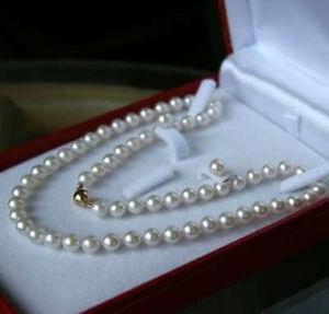 "6-7MM White Akoya Gekweekte Parel Ketting 18 ""+ Oorbel Set Colar perle collier et boucle d' oreille ensemble"