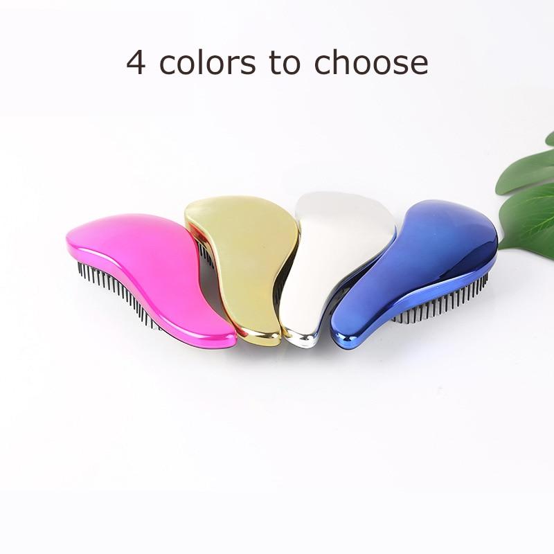 Magic 1pcs Anti-static Hair Brush Handle Tangle Detangling Comb Shower Electroplate Massage Comb Salon Hair Styling Tool Cabelo