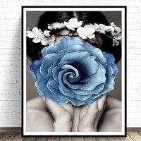 Moderne maison deco florale femme toile peinture mode mur Art photo florale pour salon decoration affiches et impressions