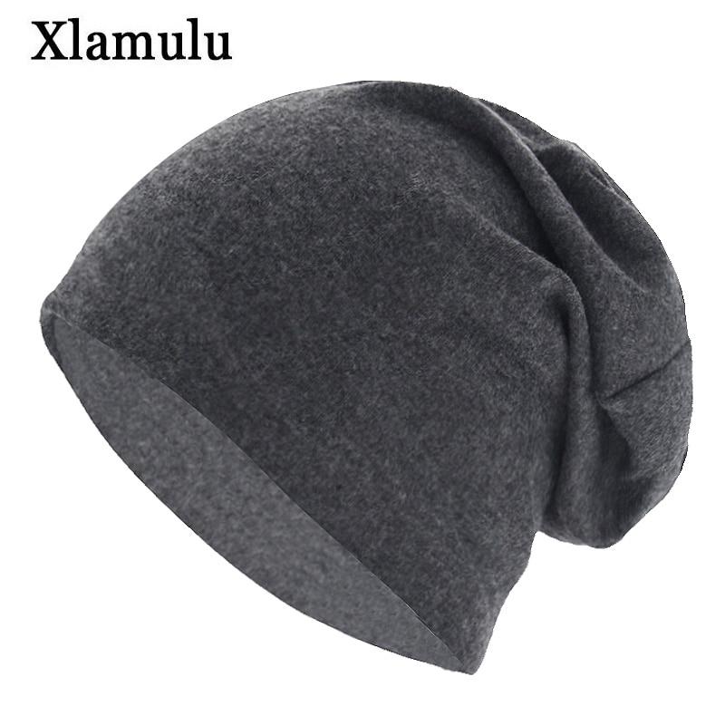 Xlamulu Autumn Skullies Beanies Hat Solid Soft Women Winter Hats For Men Caps Male Bonnet Mask Mens Beanie Wool Hat Female Cap
