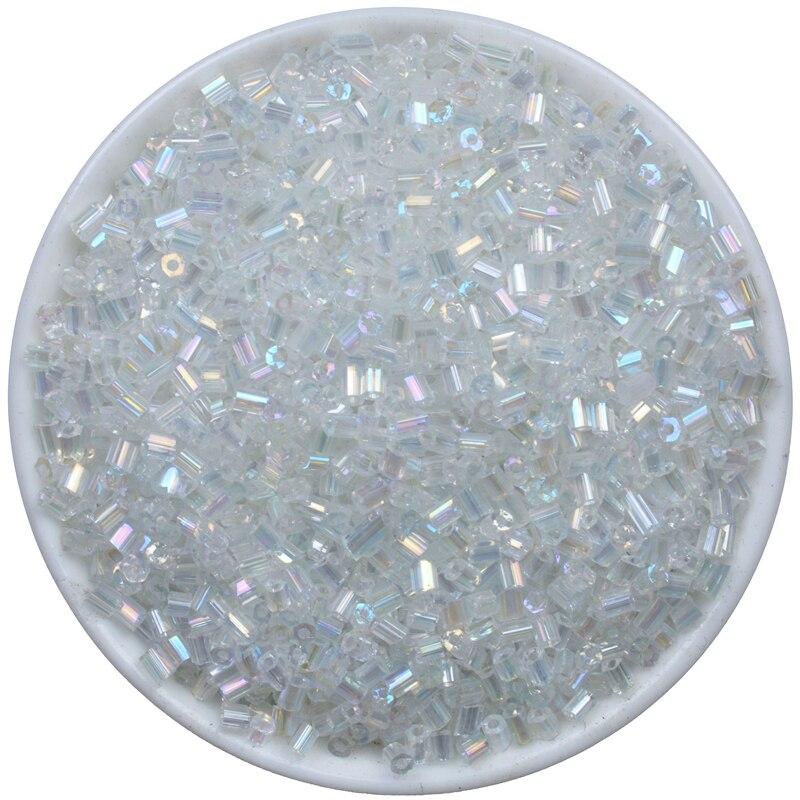 Branco ab checo tubo de vidro bugle vidro semente espaçador contas 1000pcs áustria cristal longo tubo grânulo para diy jóias fazendo 2*3mm