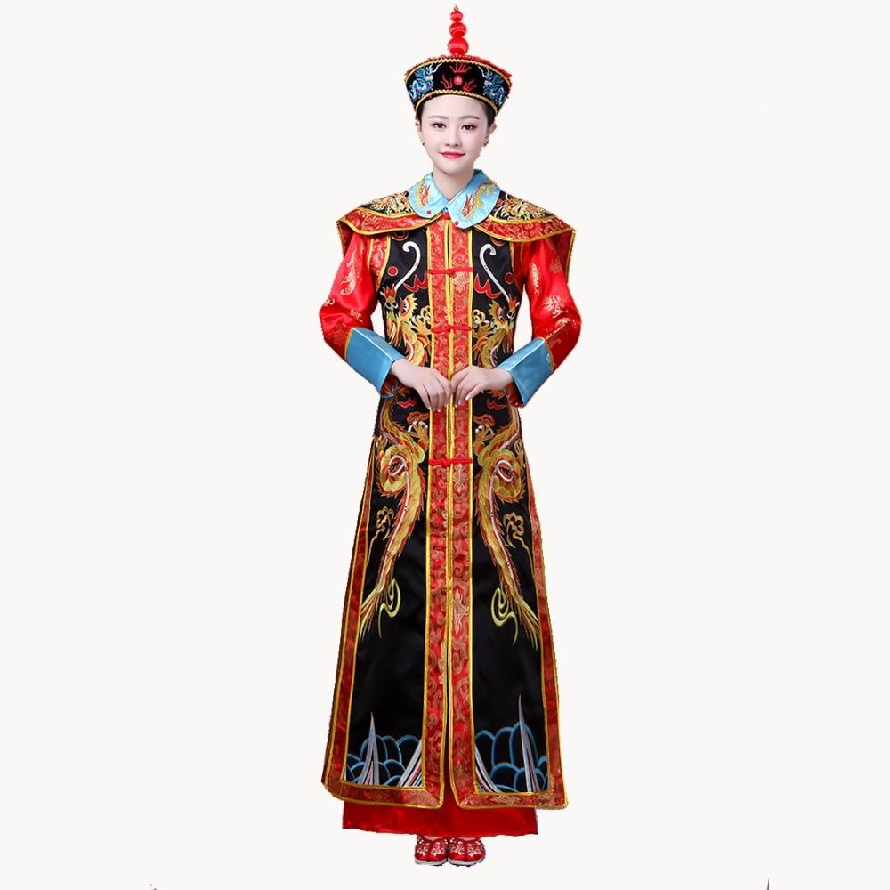 فستان إمبراطورة للملكة ، زي سلالة تشينغ ، للنساء البالغات ، ملابس صينية تقليدية ، زي ، توصيل مباشر