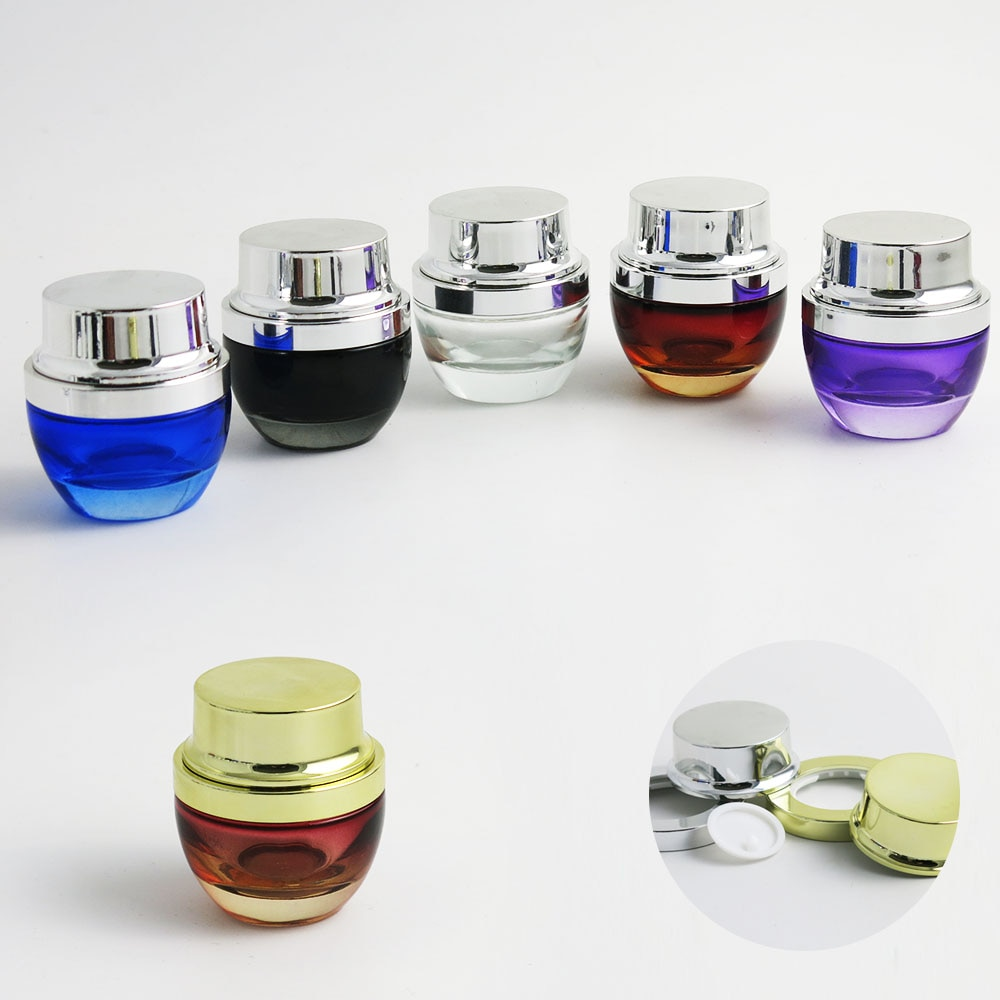 120 x 30g 30ml 30cc 1oz Black Mini Clear Amber Blue Purple Glass Make Up Cream Jar Container With UV Shining Silver Gold Cap
