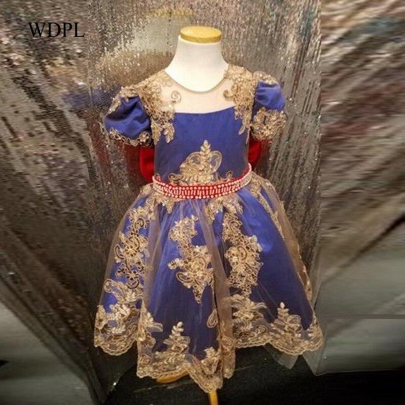 Primeiros Vestidos de Comunhão Para As Meninas 2018 vestido daminha 100% Imagem Real Vestido Da Menina Flor Applique Bow Party Girl Vestido de comunion