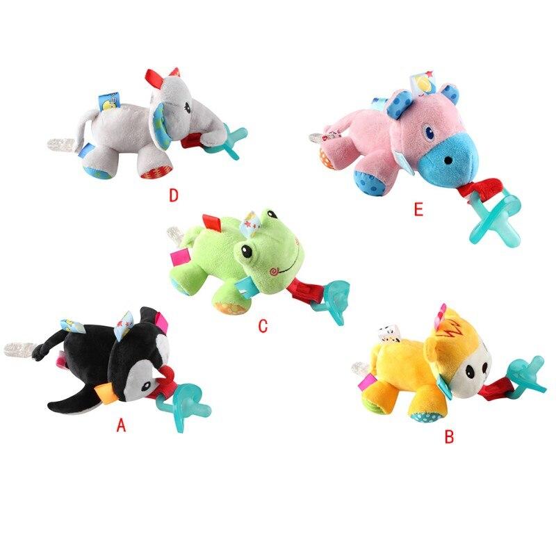 Chupetes de silicona para bebés, chupete con dibujos animados de animales de peluche, chupete de juguete para niños y niñas, chupete con Clip 2019