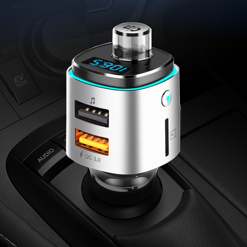 CDEN FM transmitter U disk lossless music player car mp3 Bluetooth handsfree calling QC3.0 charger atmosphere lights