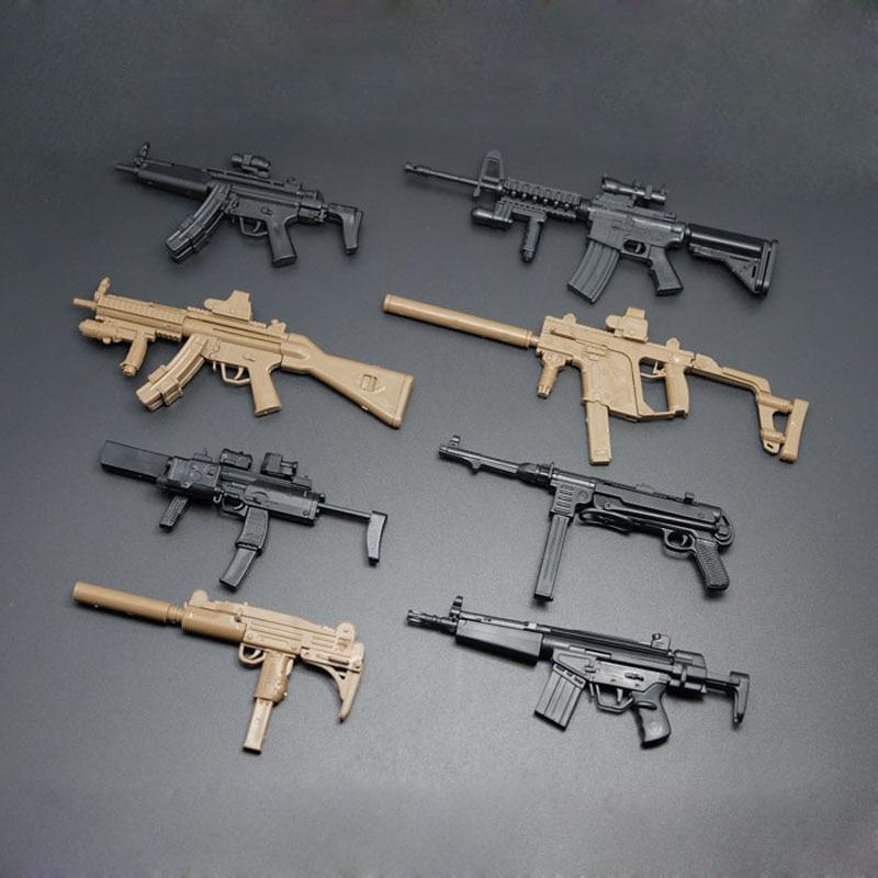16 guns MP7, MP5 y dachster MP40 y UZI KRISS submachine gun y HK53 CABBEEN y MK18 modelo militar de ensamblaje de rifle 8 pistolas/lote