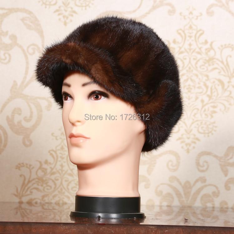Mink fur hat ear protector cap  new style high quality mens mink hair benn fur hat  winter 58-60cm size biack brown color