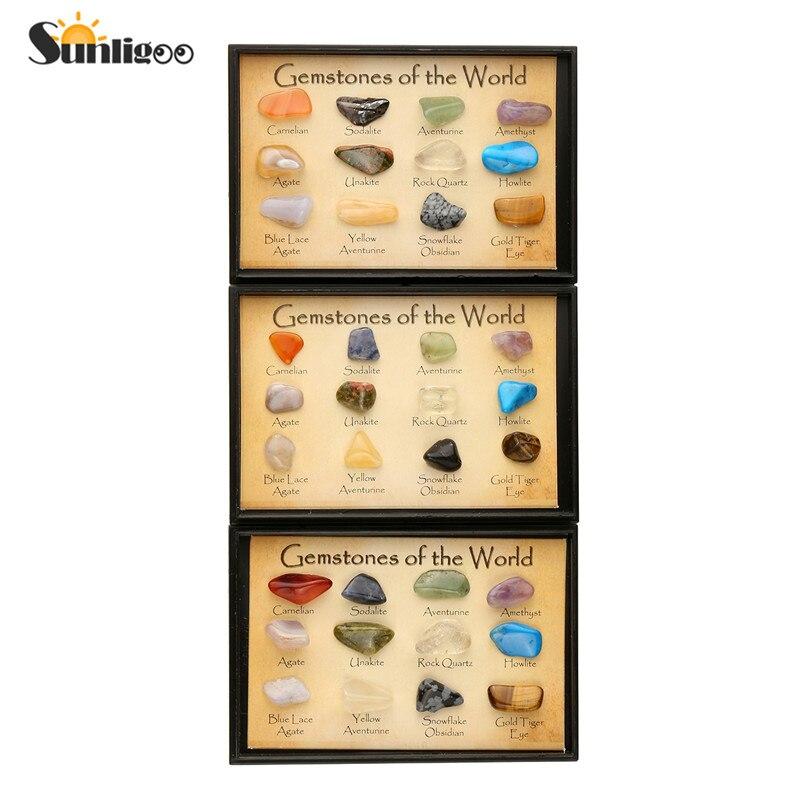 "Sunligoo Natuurlijke Trommelstenen Set 15 Verschillende 0.25 ""Reiki Reizen Collectie In Plastic Display Box Pedras Naturais E Minerai"