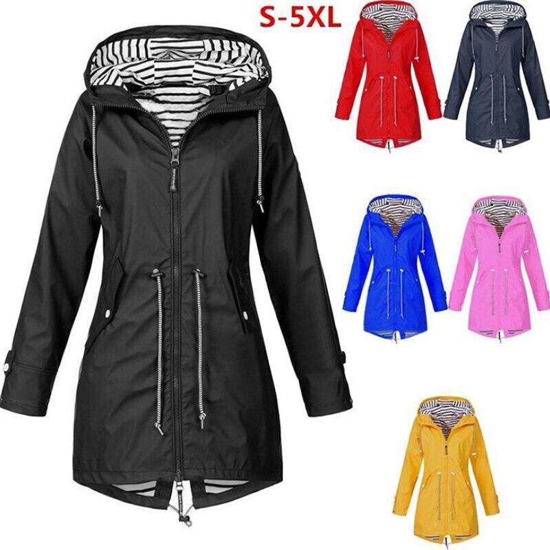 2020 primavera otoño chaqueta abrigo moda femenina mediano largo con capucha cortavientos de talla grande para mujer al aire libre montañismo chaquetas