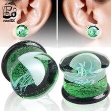 Bouchons et Tunnels en verre 8mm-16mm vert translucide boucles doreilles jauges blanc méduse Logo oreille civière corps Piercing bijoux